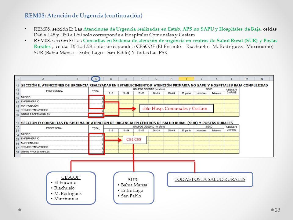 REM08: Atención de Urgencia (continuación) REM08, sección E: Las Atenciones de Urgencia realizadas en Estab. APS no SAPU y Hospitales de Baja, celdas