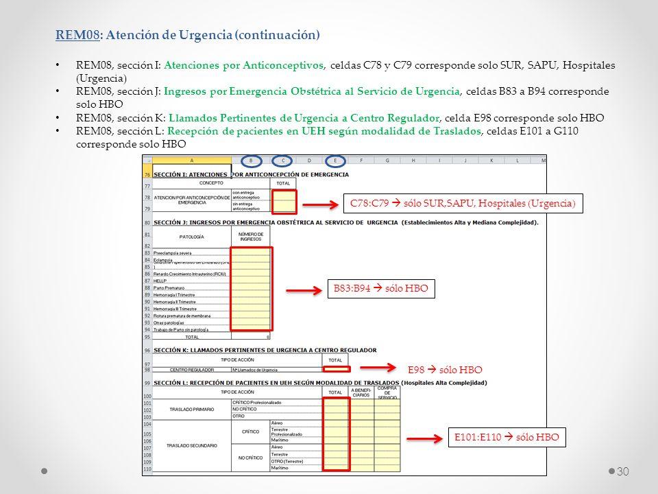 REM08: Atención de Urgencia (continuación) REM08, sección I: Atenciones por Anticonceptivos, celdas C78 y C79 corresponde solo SUR, SAPU, Hospitales (