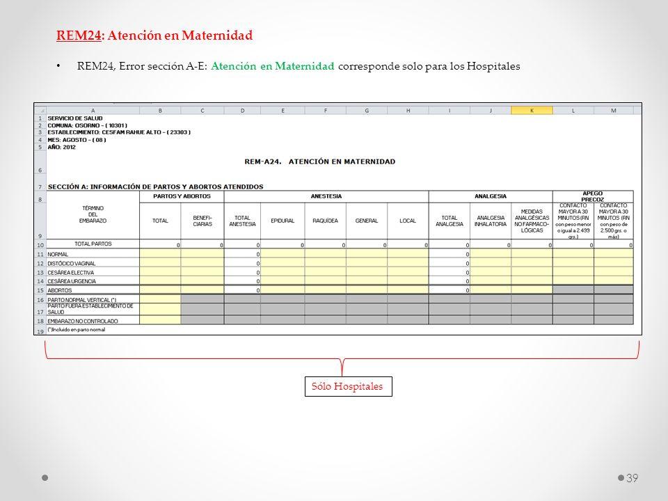 REM24: Atención en Maternidad REM24, Error sección A-E: Atención en Maternidad corresponde solo para los Hospitales Sólo Hospitales 39