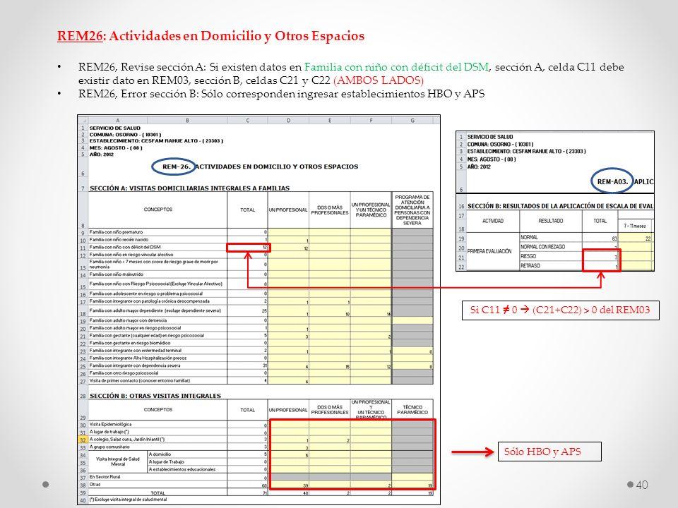 REM26: Actividades en Domicilio y Otros Espacios REM26, Revise sección A: Si existen datos en Familia con niño con déficit del DSM, sección A, celda C