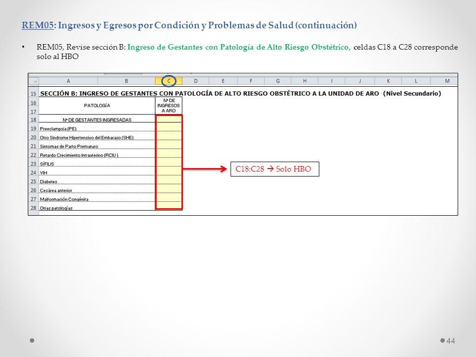 REM05: Ingresos y Egresos por Condición y Problemas de Salud (continuación) REM05, Revise sección B: Ingreso de Gestantes con Patología de Alto Riesgo
