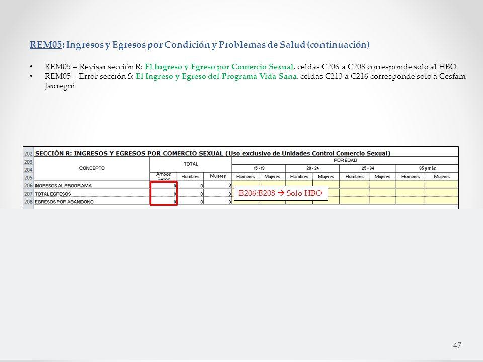 REM05: Ingresos y Egresos por Condición y Problemas de Salud (continuación) REM05 – Revisar sección R: El Ingreso y Egreso por Comercio Sexual, celdas