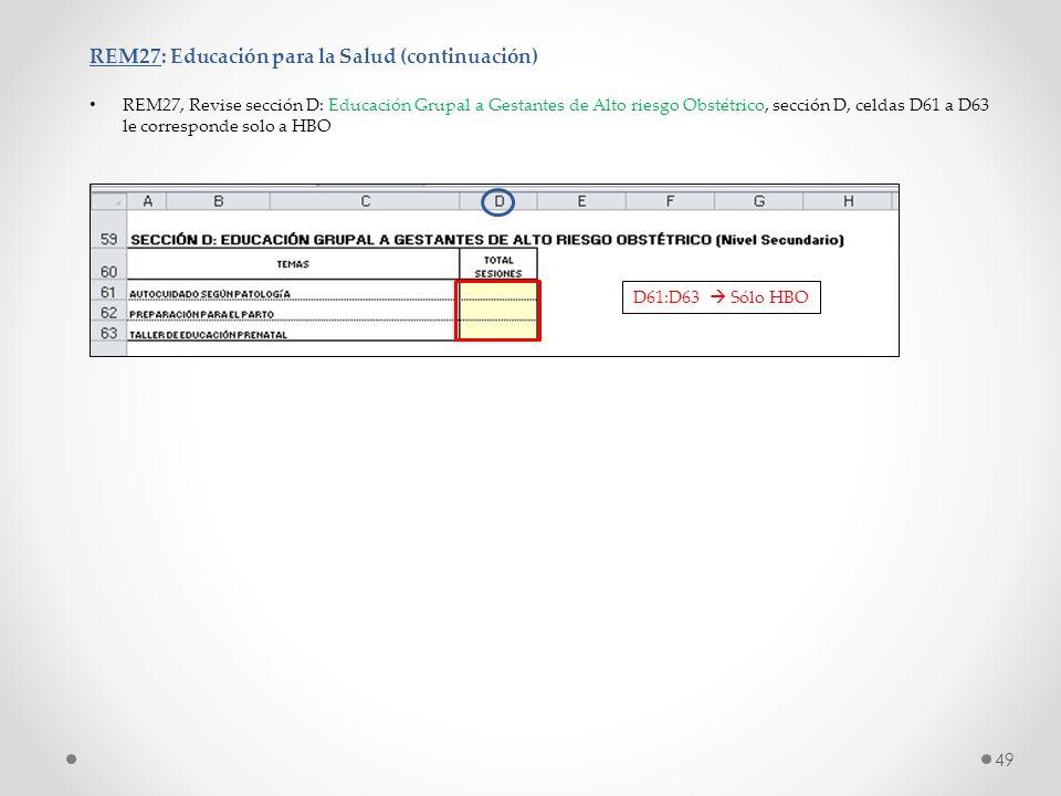 REM27: Educación para la Salud (continuación) REM27, Revise sección D: Educación Grupal a Gestantes de Alto riesgo Obstétrico, sección D, celdas D61 a