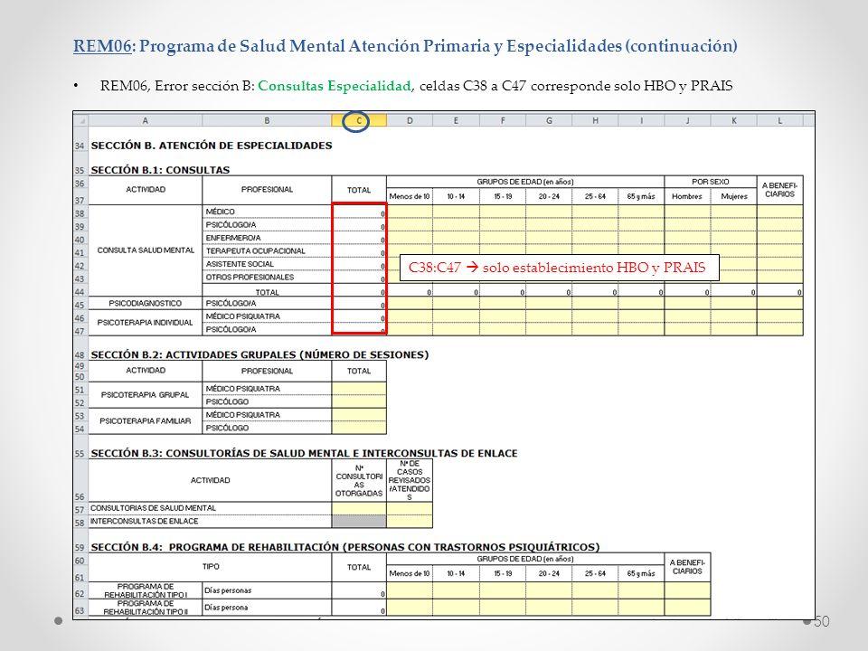 REM06: Programa de Salud Mental Atención Primaria y Especialidades (continuación) REM06, Error sección B: Consultas Especialidad, celdas C38 a C47 cor