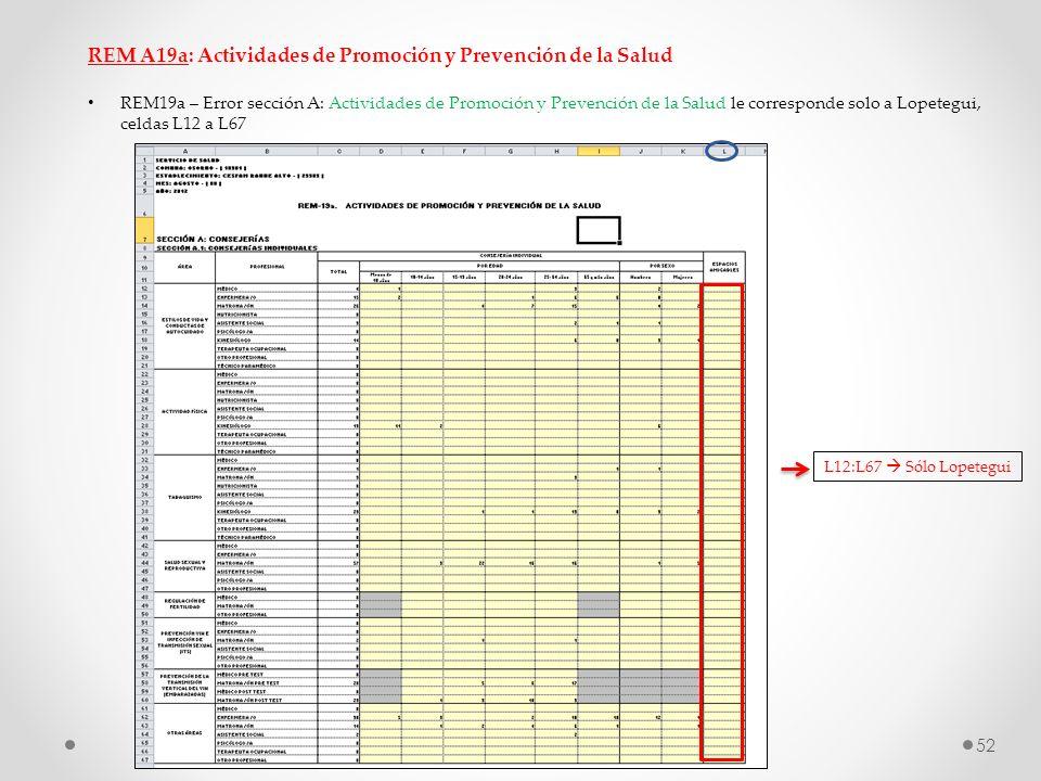 REM A19a: Actividades de Promoción y Prevención de la Salud REM19a – Error sección A: Actividades de Promoción y Prevención de la Salud le corresponde