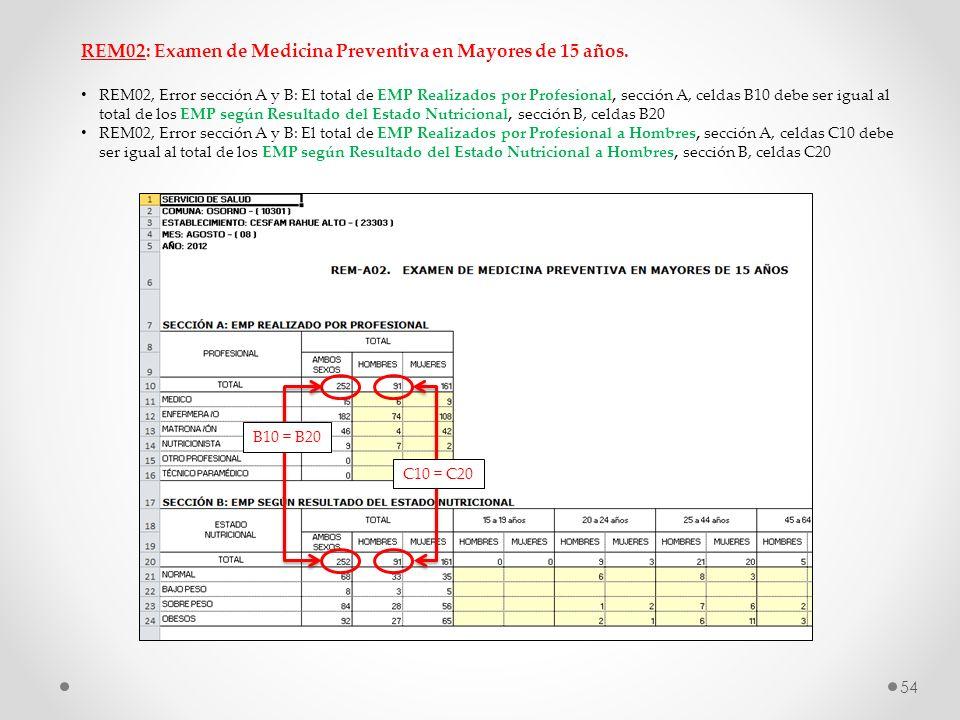 REM02: Examen de Medicina Preventiva en Mayores de 15 años. REM02, Error sección A y B: El total de EMP Realizados por Profesional, sección A, celdas