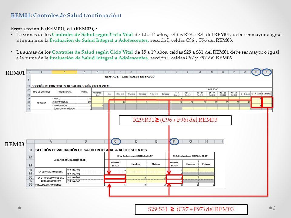 REM01: Controles de Salud (continuación) Error sección B (REM01), o I (REM03), : La sumas de los Controles de Salud según Ciclo Vital de 10 a 14 años,