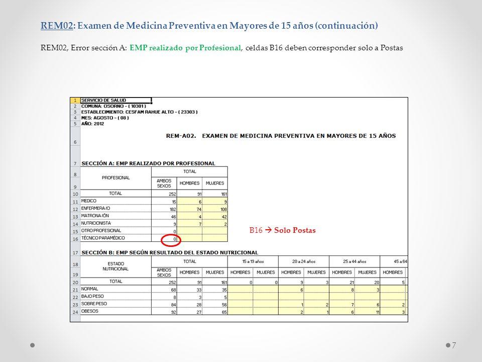 REM02: Examen de Medicina Preventiva en Mayores de 15 años (continuación) REM02, Error sección A: EMP realizado por Profesional, celdas B16 deben corr