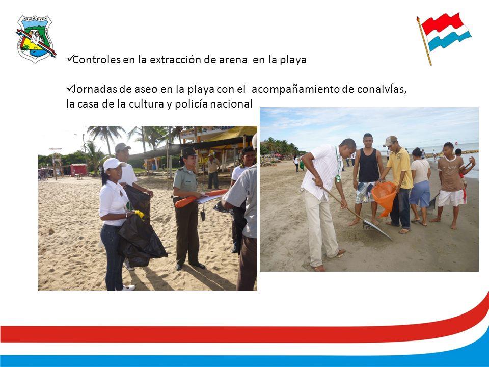 Controles en la extracción de arena en la playa Jornadas de aseo en la playa con el acompañamiento de conalvÍas, la casa de la cultura y policía nacional