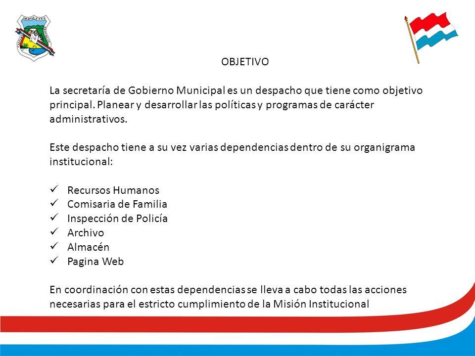 OBJETIVO La secretaría de Gobierno Municipal es un despacho que tiene como objetivo principal.