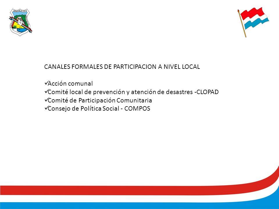 CANALES FORMALES DE PARTICIPACION A NIVEL LOCAL Acción comunal Comité local de prevención y atención de desastres -CLOPAD Comité de Participación Comunitaria Consejo de Política Social - COMPOS