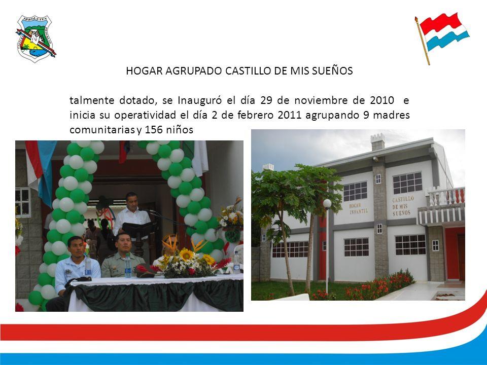 HOGAR AGRUPADO CASTILLO DE MIS SUEÑOS talmente dotado, se Inauguró el día 29 de noviembre de 2010 e inicia su operatividad el día 2 de febrero 2011 agrupando 9 madres comunitarias y 156 niños