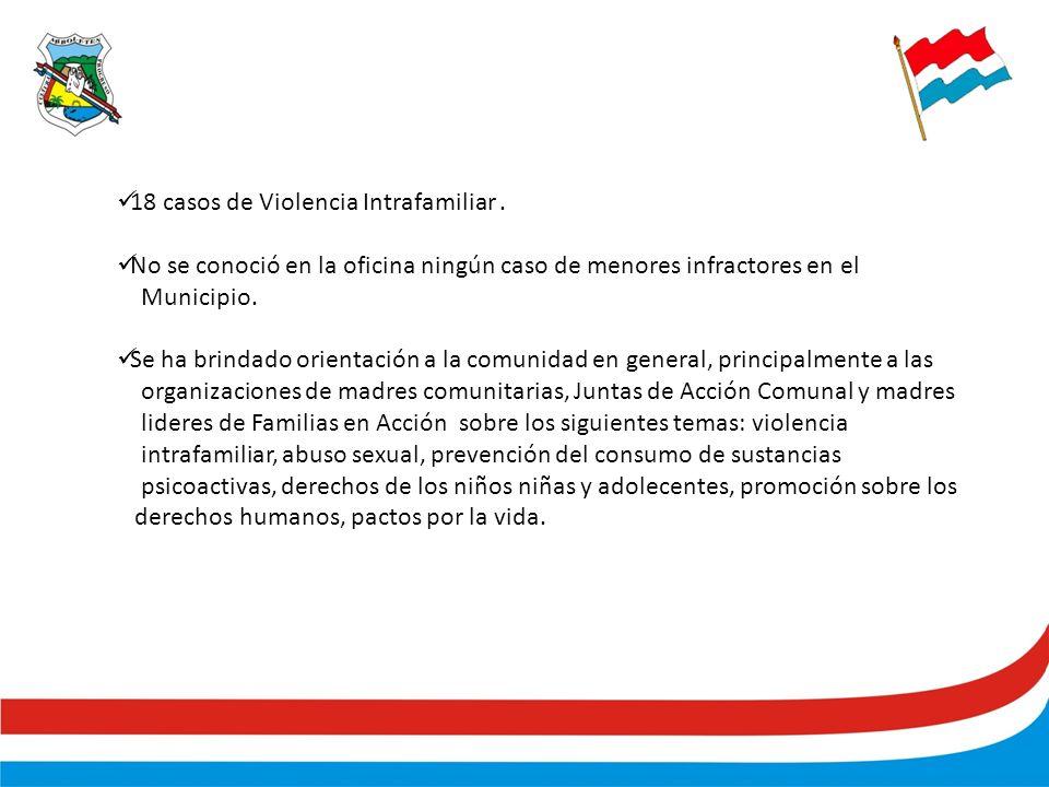 18 casos de Violencia Intrafamiliar.