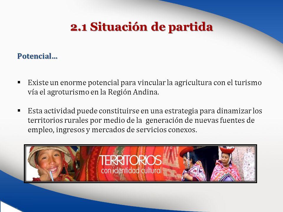 2.1 Situación de partida Potencial… Existe un enorme potencial para vincular la agricultura con el turismo vía el agroturismo en la Región Andina. Est