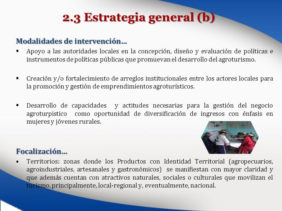 2.3 Estrategia general (b) Modalidades de intervención… Apoyo a las autoridades locales en la concepción, diseño y evaluación de políticas e instrumen