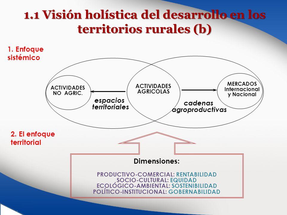 1.1 Visión holística del desarrollo en los territorios rurales (b) espacios territoriales ACTIVIDADES NO AGRIC. ACTIVIDADES AGRICOLAS cadenas agroprod