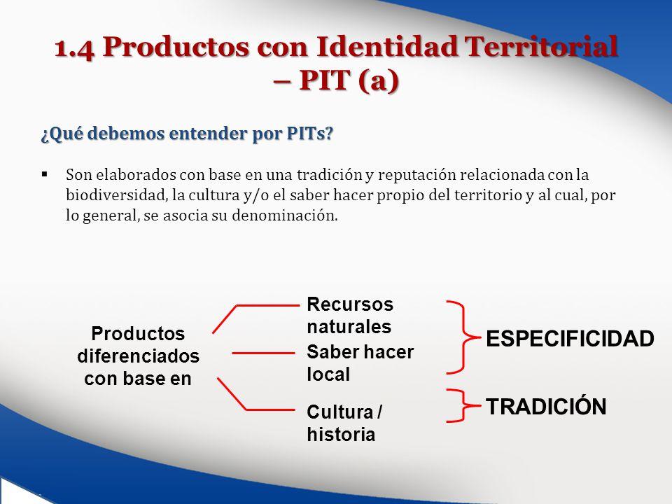 1.4 Productos con Identidad Territorial – PIT (a) ¿Qué debemos entender por PITs? Son elaborados con base en una tradición y reputación relacionada co
