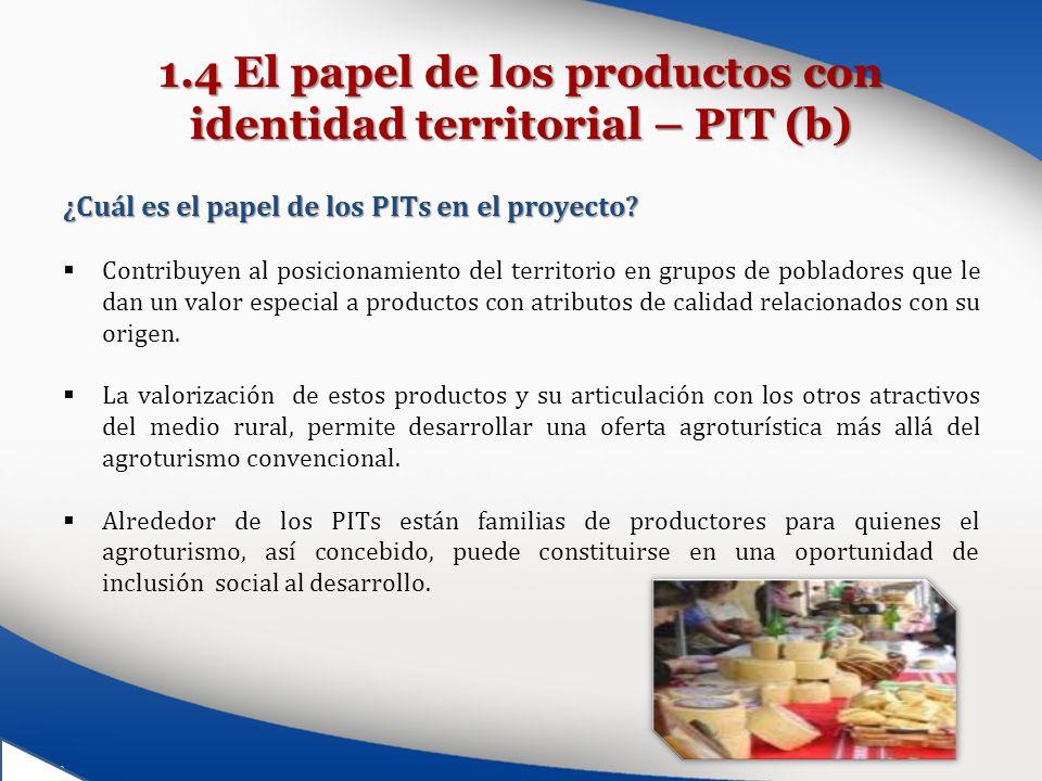 1.4 El papel de los productos con identidad territorial – PIT (b) ¿Cuál es el papel de los PITs en el proyecto? Contribuyen al posicionamiento del ter