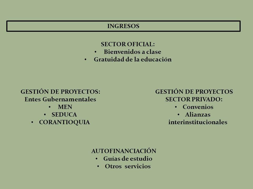 INGRESOS SECTOR OFICIAL: Bienvenidos a clase Gratuidad de la educación GESTIÓN DE PROYECTOS: Entes Gubernamentales MEN SEDUCA CORANTIOQUIA GESTIÓN DE PROYECTOS SECTOR PRIVADO: Convenios Alianzas interinstitucionales AUTOFINANCIACIÓN Guías de estudio Otros servicios