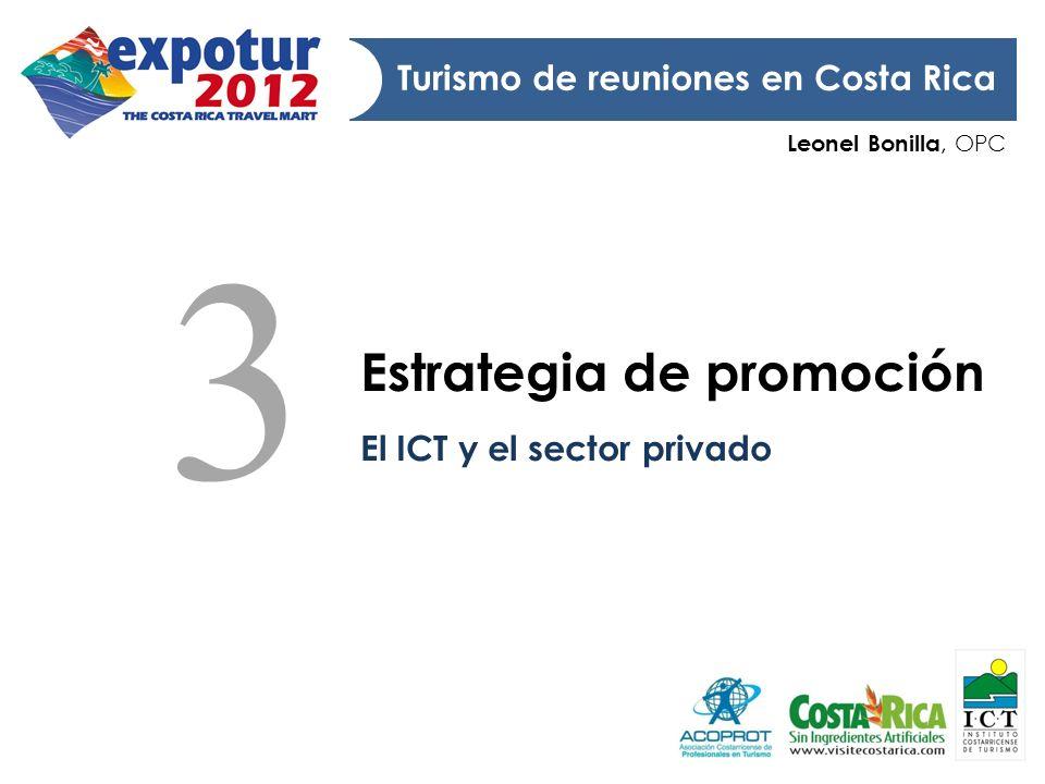 Leonel Bonilla, OPC Turismo de reuniones en Costa Rica Estrategia de promoción El ICT y el sector privado 3