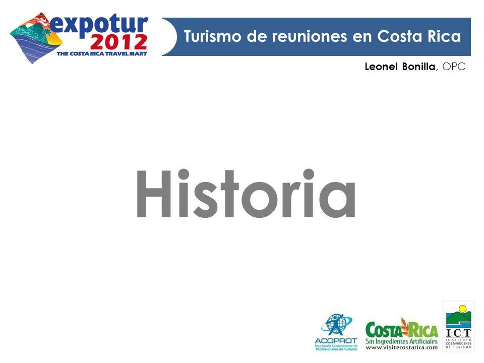 Leonel Bonilla, OPC Turismo de reuniones en Costa Rica Eventos organismos internacionales y profesionales centroamericanos Apertura del Departamento de Congresos y Convenciones del ICT Primeros MeetingPlanners 70 s 80s 81