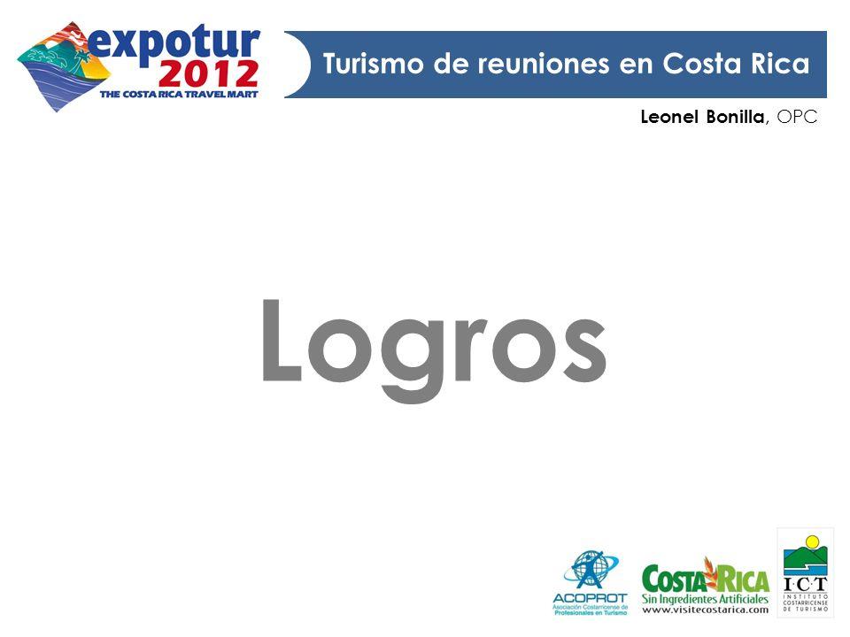 Leonel Bonilla, OPC Turismo de reuniones en Costa Rica Logros