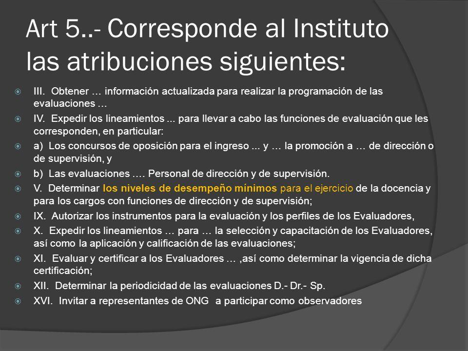 Art 5..- Corresponde al Instituto las atribuciones siguientes: III. Obtener … información actualizada para realizar la programación de las evaluacione