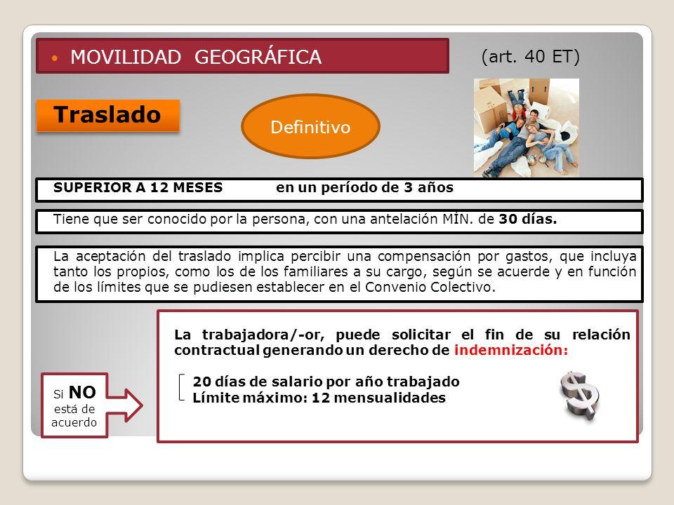 MOVILIDAD GEOGRÁFICA (art. 40 ET) Traslado Definitivo Tiene que ser conocido por la persona, con una antelación MÍN. de 30 días. La aceptación del tra