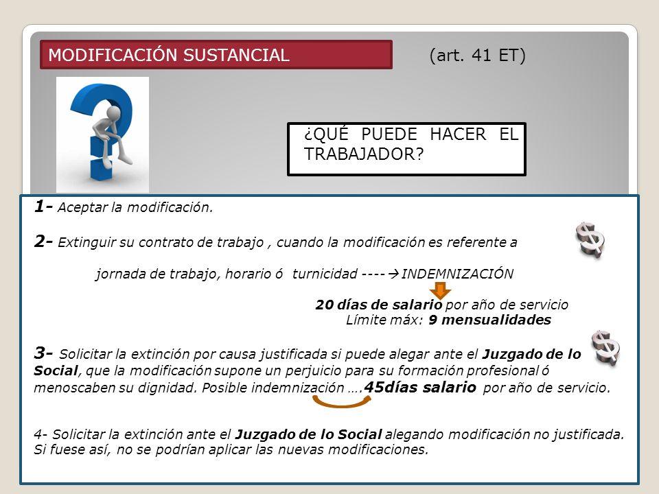 MODIFICACIÓN SUSTANCIAL (art. 41 ET) 1- Aceptar la modificación. 2- Extinguir su contrato de trabajo, cuando la modificación es referente a jornada de
