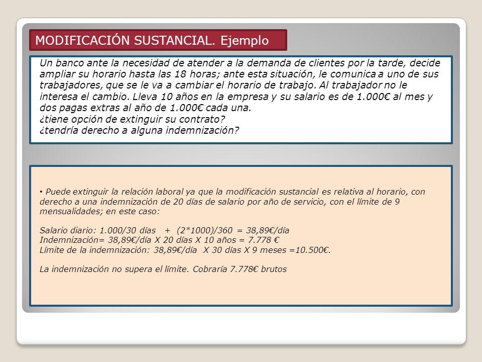 MODIFICACIÓN SUSTANCIAL. Ejemplo Modificación individual: 1 trabajador ó en nº reducido (menos del 10% plantilla) Modificación colectiva: más del 10%