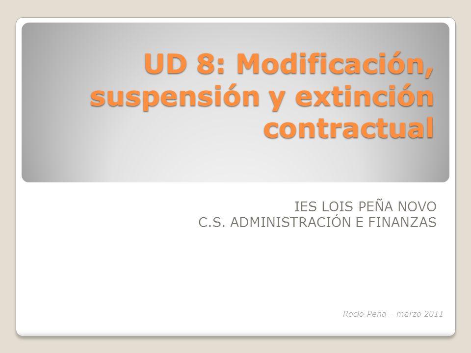En esta unidad vamos a hablar de: MOVILIDAD FUNCIONAL MOVILIDAD GEOGRÁFICA MODIFICACIÓN SUSTANCIAL EXTINCIÓN CONTRATO EXCEDENCIAS SUSPENSIÓN UD 8: Modificación, suspensión y extinción contractual