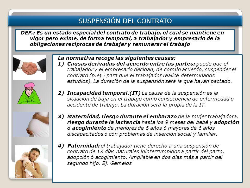 SUSPENSIÓN DEL CONTRATO Modificación individual: 1 trabajador ó en nº reducido (menos del 10% plantilla) DEF.: Es un estado especial del contrato de t