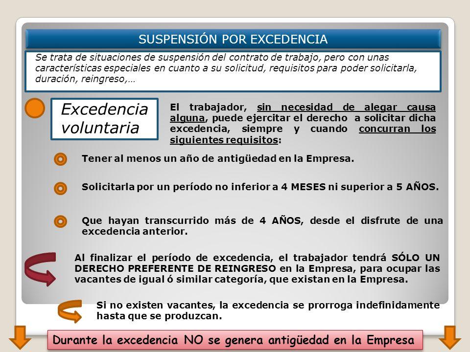 SUSPENSIÓN POR EXCEDENCIA Se trata de situaciones de suspensión del contrato de trabajo, pero con unas características especiales en cuanto a su solic
