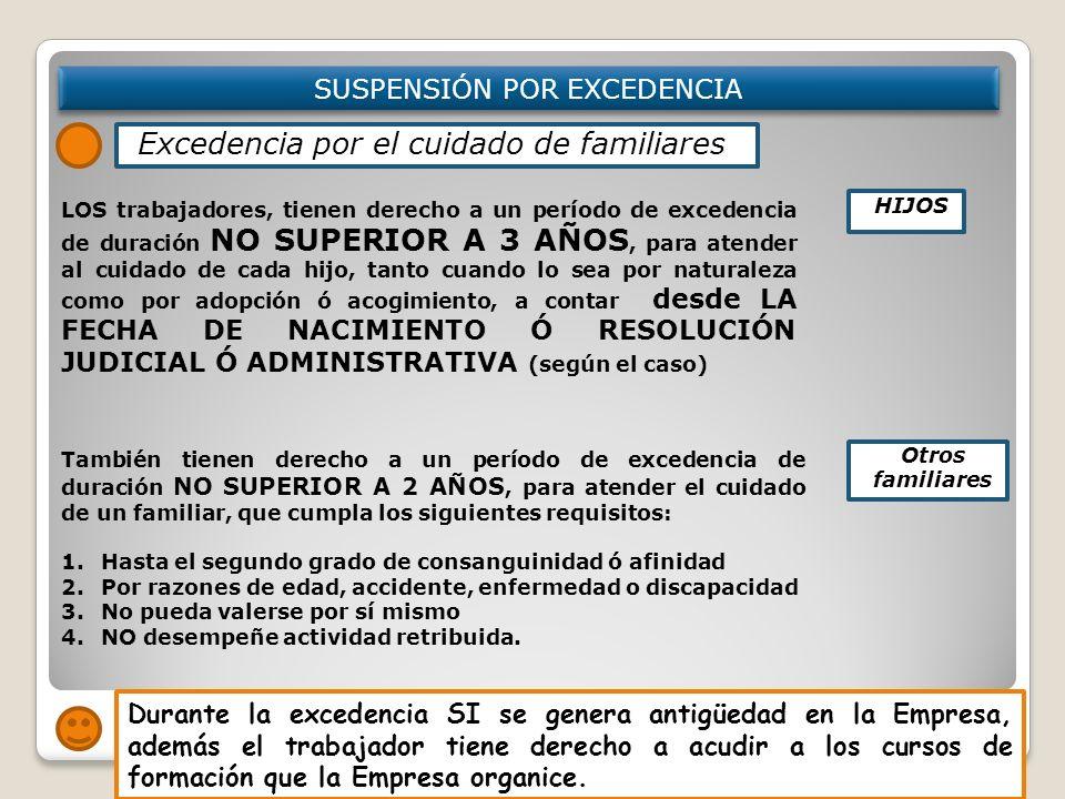 SUSPENSIÓN POR EXCEDENCIA LOS trabajadores, tienen derecho a un período de excedencia de duración NO SUPERIOR A 3 AÑOS, para atender al cuidado de cad