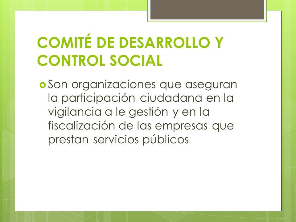 COMITÉ DE DESARROLLO Y CONTROL SOCIAL Son organizaciones que aseguran la participación ciudadana en la vigilancia a le gestión y en la fiscalización d