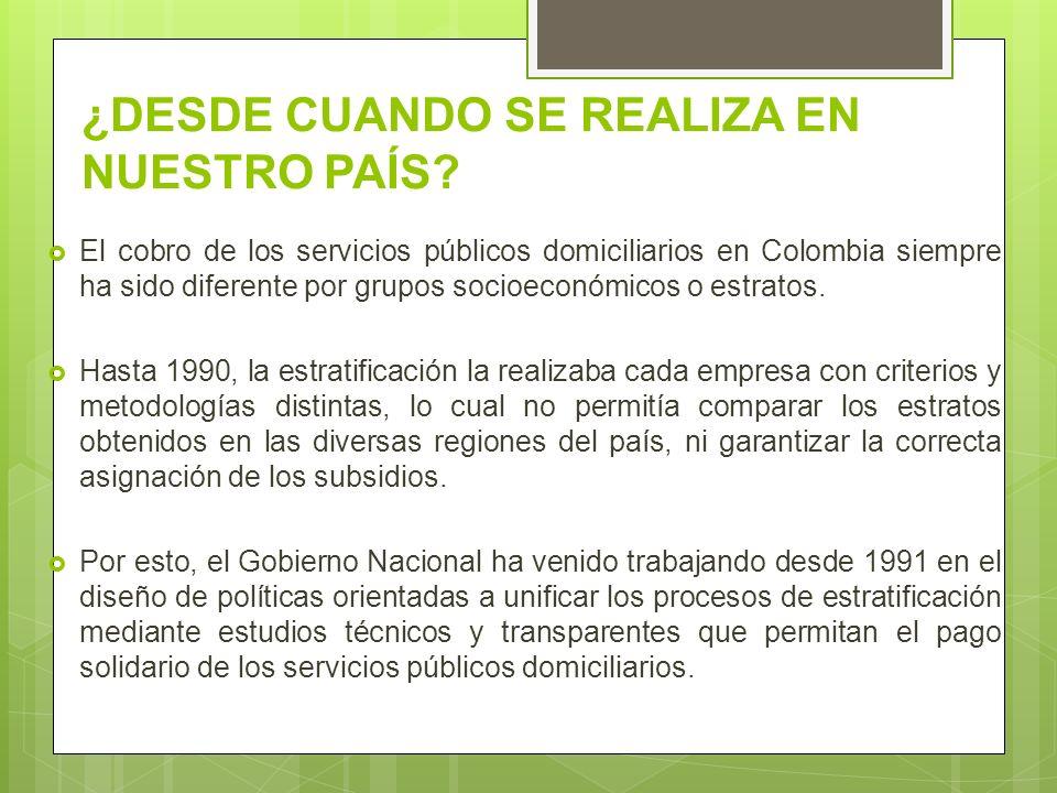 ¿DESDE CUANDO SE REALIZA EN NUESTRO PAÍS? El cobro de los servicios públicos domiciliarios en Colombia siempre ha sido diferente por grupos socioeconó