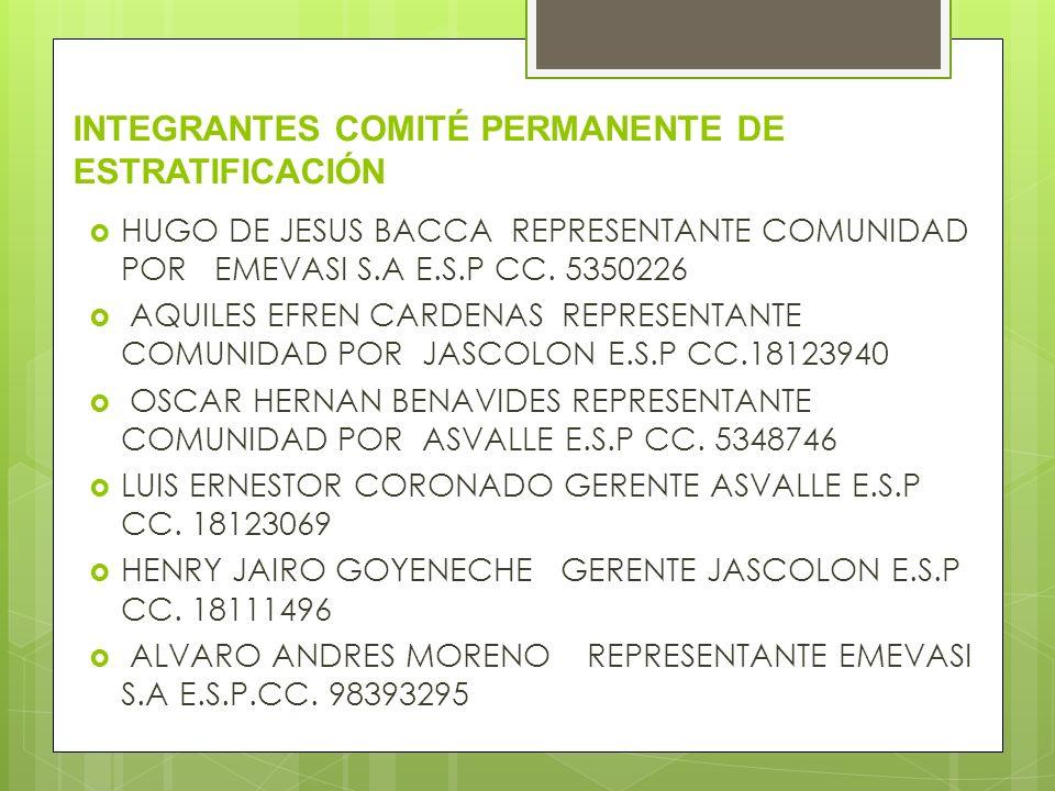 INTEGRANTES COMITÉ PERMANENTE DE ESTRATIFICACIÓN HUGO DE JESUS BACCA REPRESENTANTE COMUNIDAD POR EMEVASI S.A E.S.P CC. 5350226 AQUILES EFREN CARDENAS