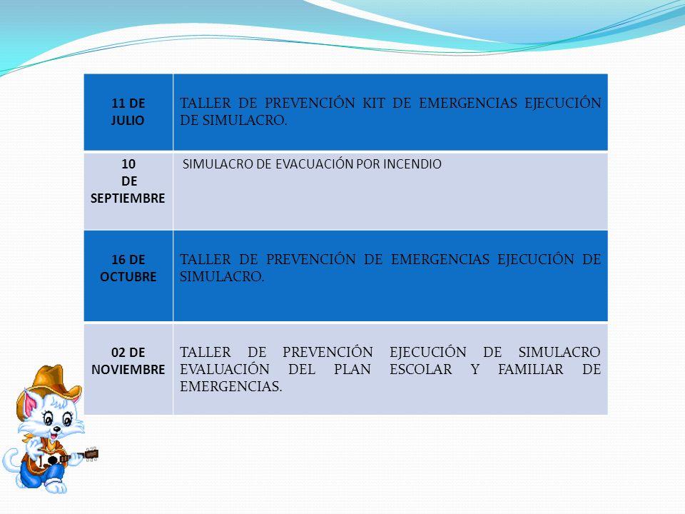 11 DE JULIO TALLER DE PREVENCIÓN KIT DE EMERGENCIAS EJECUCIÓN DE SIMULACRO. 10 DE SEPTIEMBRE SIMULACRO DE EVACUACIÓN POR INCENDIO 16 DE OCTUBRE TALLER