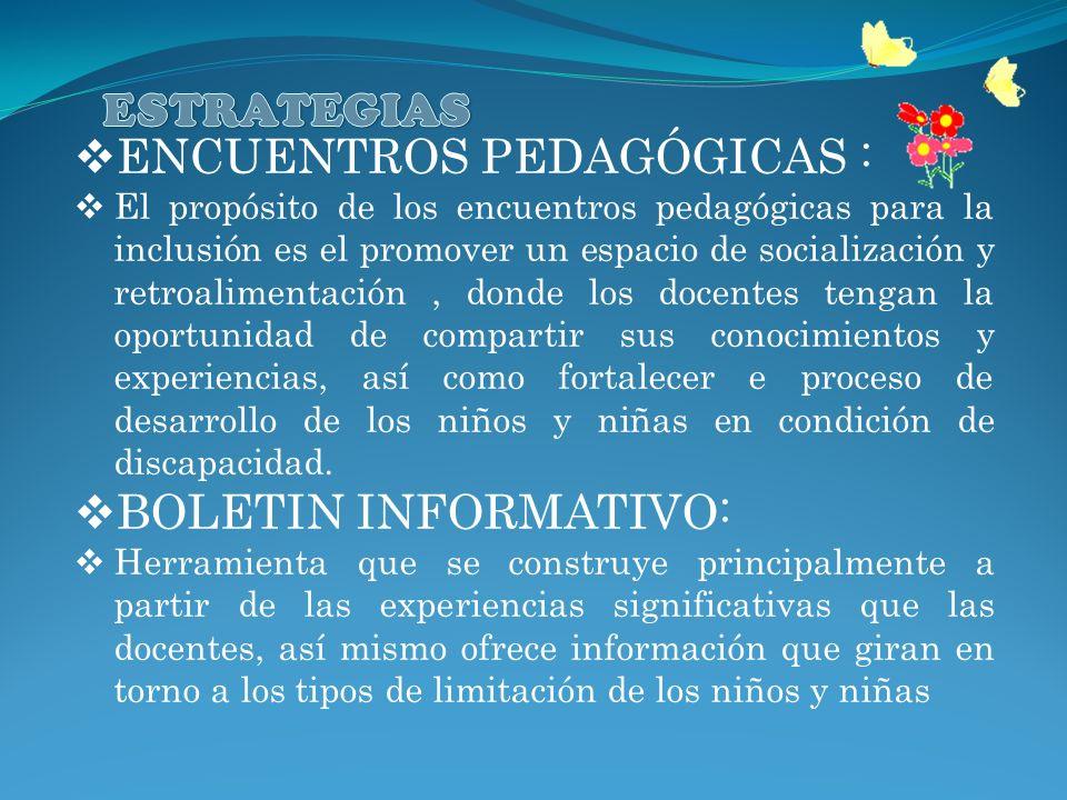 ENCUENTROS PEDAGÓGICAS : El propósito de los encuentros pedagógicas para la inclusión es el promover un espacio de socialización y retroalimentación,
