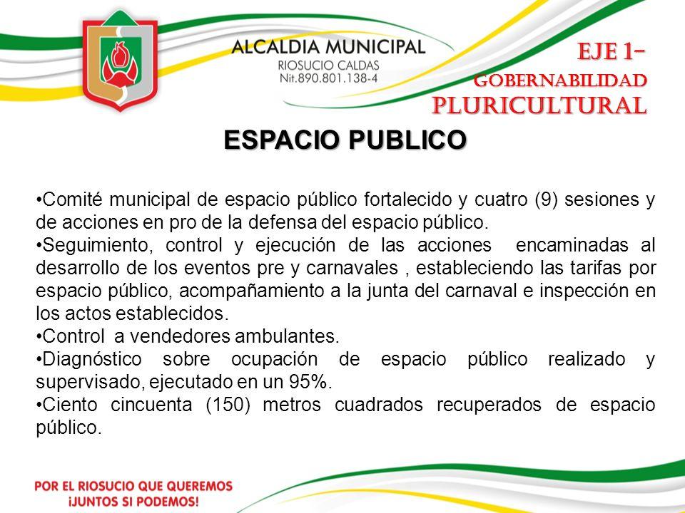 ESPACIO PUBLICO Comité municipal de espacio público fortalecido y cuatro (9) sesiones y de acciones en pro de la defensa del espacio público.
