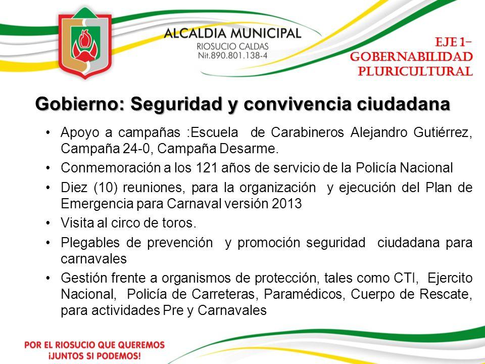 Gobierno: Seguridad y convivencia ciudadana Apoyo a campañas :Escuela de Carabineros Alejandro Gutiérrez, Campaña 24-0, Campaña Desarme.