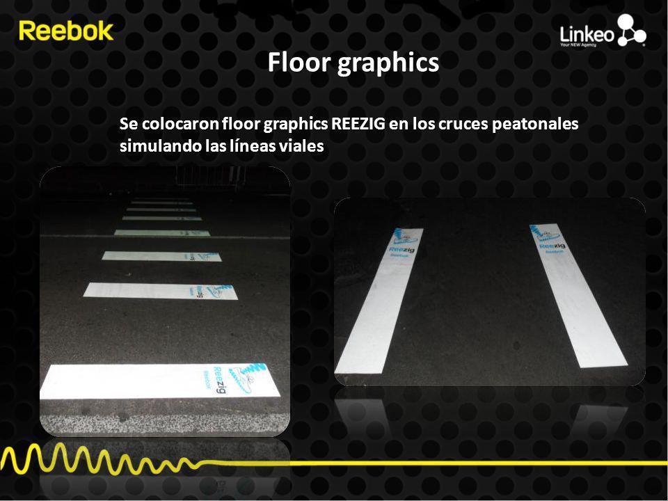 Floor graphics Se colocaron floor graphics REEZIG en los cruces peatonales simulando las líneas viales