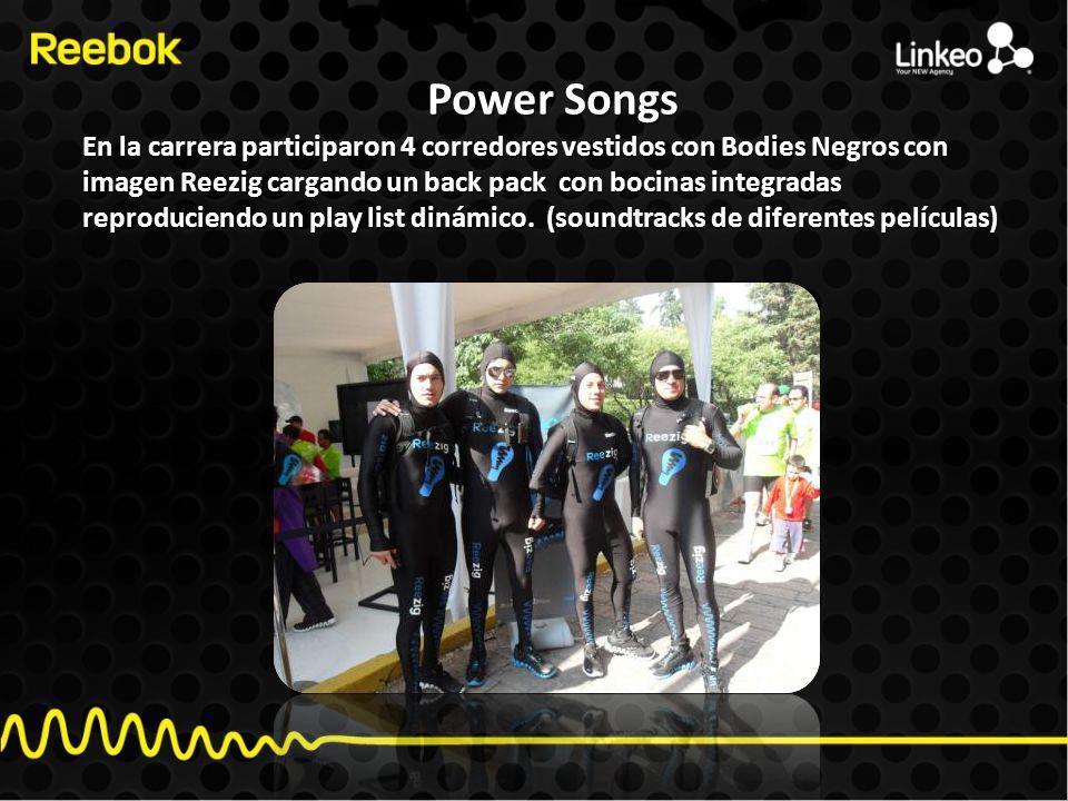 Power Songs En la carrera participaron 4 corredores vestidos con Bodies Negros con imagen Reezig cargando un back pack con bocinas integradas reproduciendo un play list dinámico.