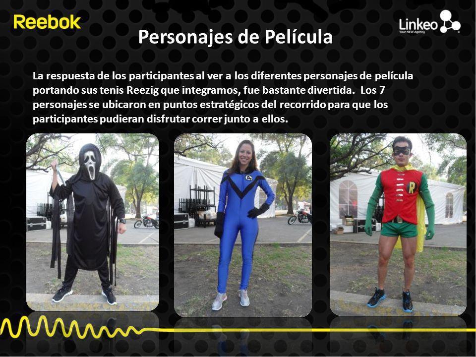 Personajes de Película La respuesta de los participantes al ver a los diferentes personajes de película portando sus tenis Reezig que integramos, fue