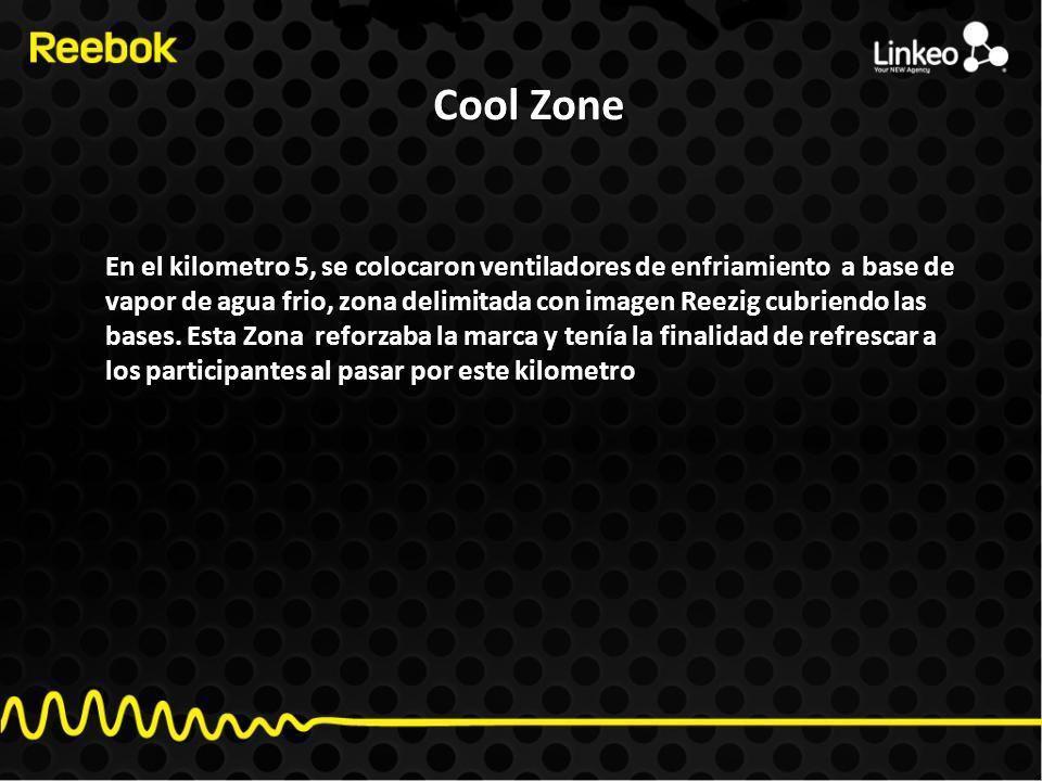 Cool Zone En el kilometro 5, se colocaron ventiladores de enfriamiento a base de vapor de agua frio, zona delimitada con imagen Reezig cubriendo las bases.