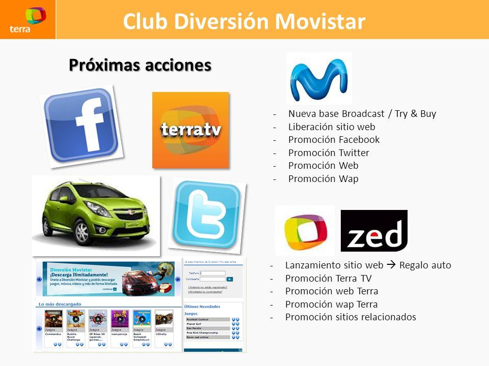 Club Diversión Movistar Próximas acciones -Nueva base Broadcast / Try & Buy -Liberación sitio web -Promoción Facebook -Promoción Twitter -Promoción We