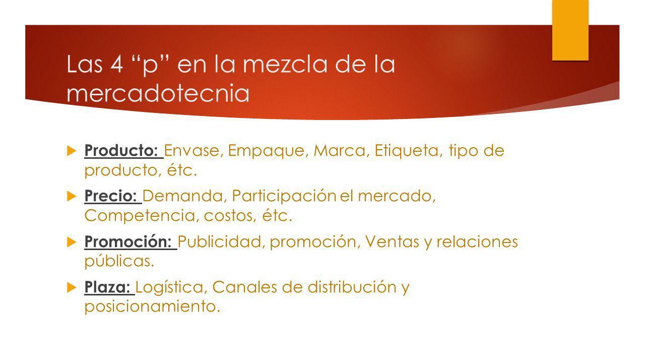 Las 4 p en la mezcla de la mercadotecnia Producto: Envase, Empaque, Marca, Etiqueta, tipo de producto, étc. Precio: Demanda, Participación el mercado,