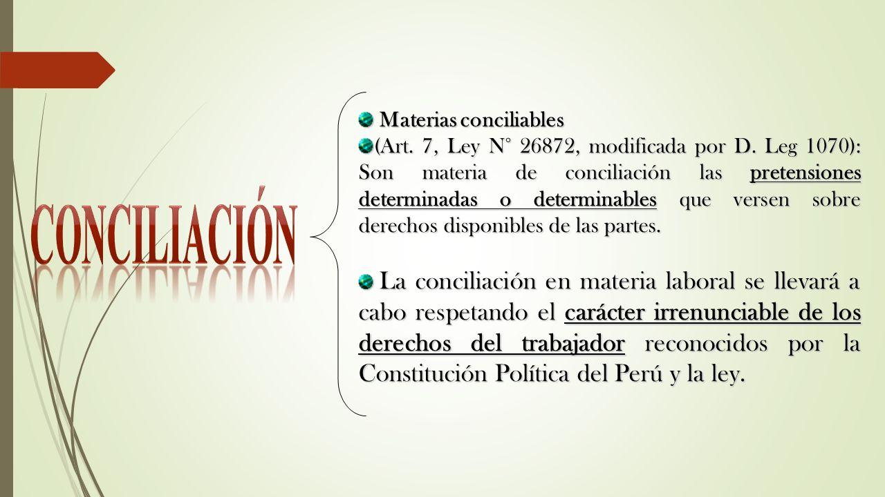 Materias conciliables Materias conciliables (Art. 7, Ley N° 26872, modificada por D. Leg 1070): Son materia de conciliación las pretensiones determina