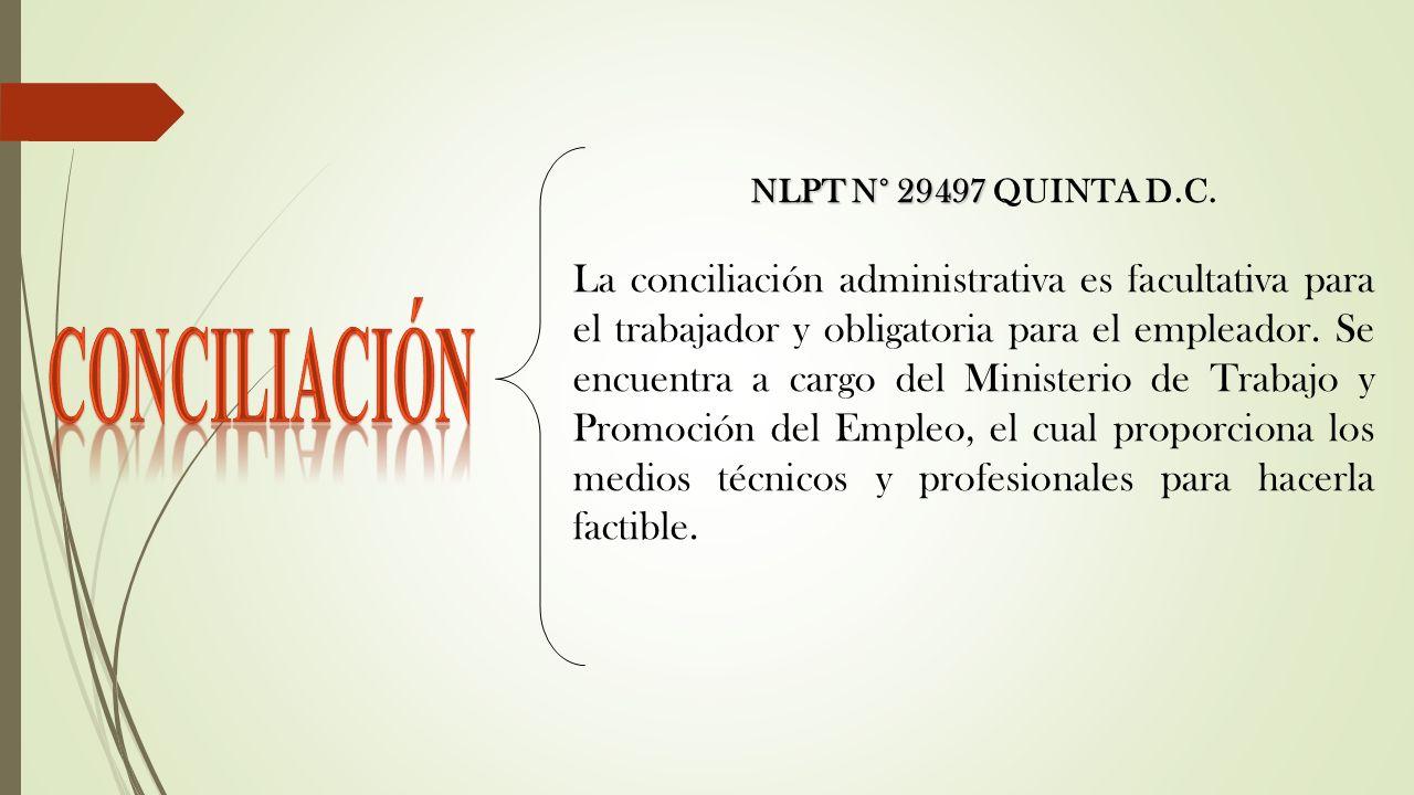 NLPT N° 29497 NLPT N° 29497 QUINTA D.C. La conciliación administrativa es facultativa para el trabajador y obligatoria para el empleador. Se encuentra