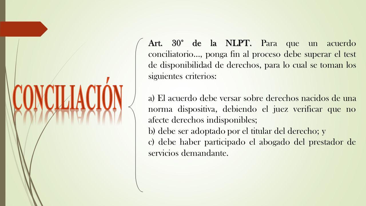 Art. 30° de la NLPT. Art. 30° de la NLPT. Para que un acuerdo conciliatorio…, ponga fin al proceso debe superar el test de disponibilidad de derechos,